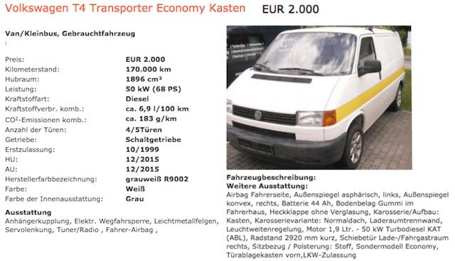 T4 budget Camper Kastenwagen Inserat