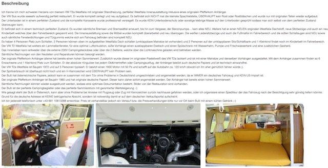 VW Bus T2 zu verkaufen schweren Herzens