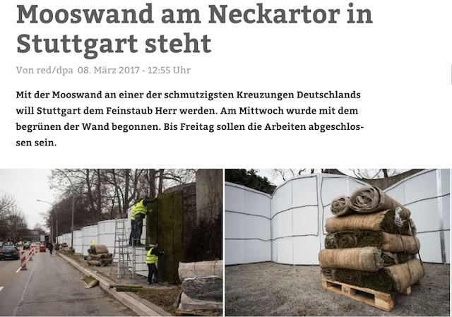 Mosswand Stuttgart Feinstaubemissionen senken, Quelle dpa und Stuttgarter Nachrichten