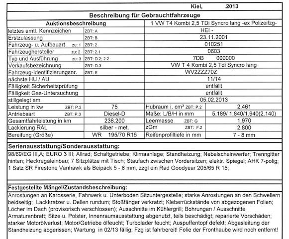 Datenblatt Gutachten Zollauktion Blatt 1 von 2 T4 TDI silber