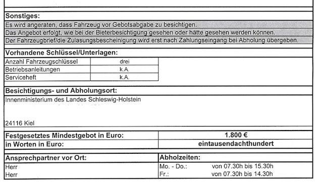 Datenblatt Gutachten Zollauktion Blatt 2 von 2 T4 TDI silber