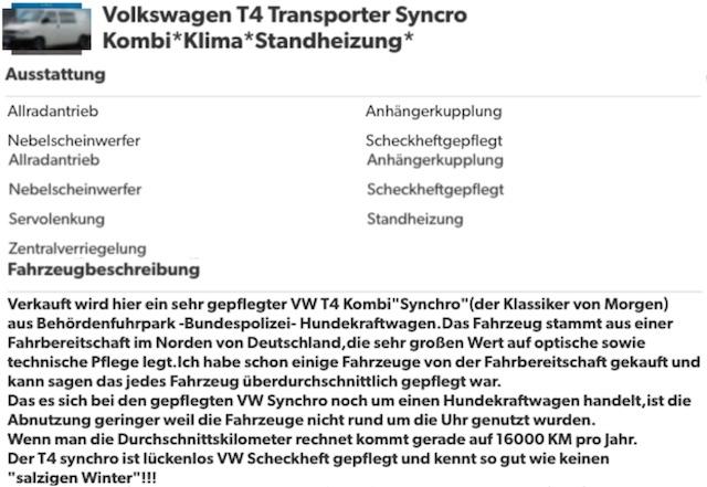 Einsatzfahrzeug Auktion VW Bus