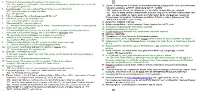 T3 Syncro Schweden Import to do Liste deutsche Zulassung