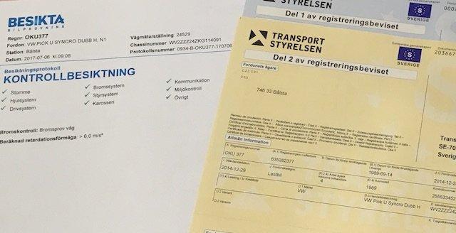 VW Bus Syncro schwedischer Fahrzeugschein