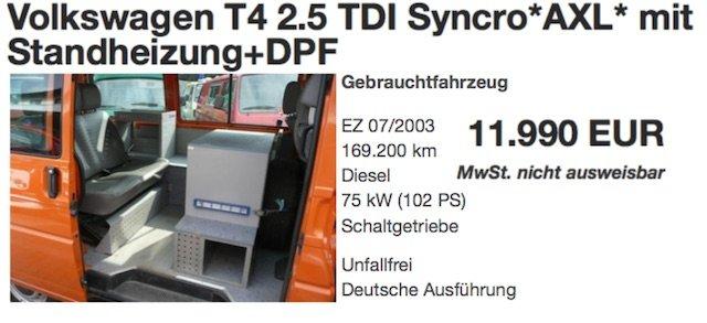 VW Bus T4 ex Vermessungsfahrzeug Syncro Kaufberatung