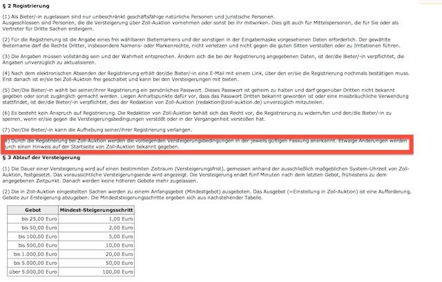 Vertragsbedingungen Richtlinien Zollauktionen Blatt 1 von 2 03 2013