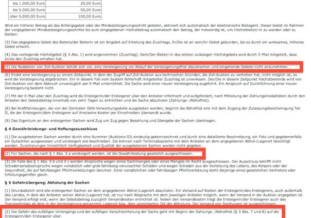 Vertragsbedingungen Richtlinien Zollauktionen Blatt 2 von 2 03 2013