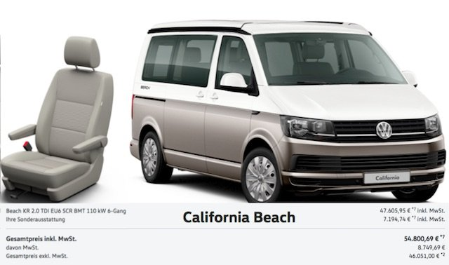 California BEACH Neuwagenpreis Testfahrzeug kochen am VW Bus PANGEA 2017 Quelle © Volkswagen AG Abb enthaelt Sonderausstattung.