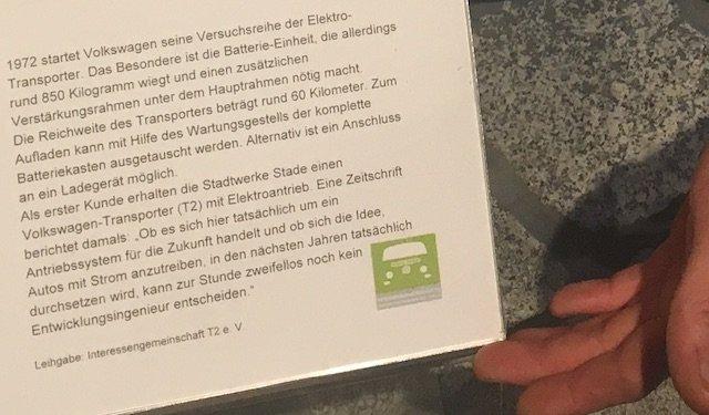 T2 VW Bus Elektro Antrieb Leihgabe Interessengemeinschaft T2 eV Sonderausstellung PS Speicher Einbeck August 2017