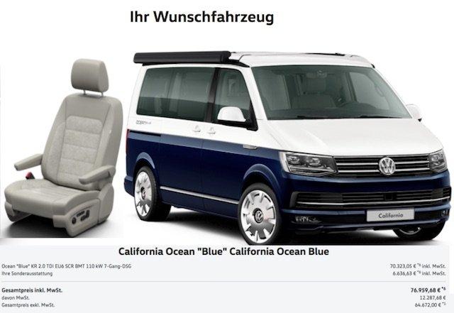 T6 California OCEAN BLUE 2017 Quelle © Volkswagen AG Neuwagenkonfiguration Abb enthaelt Sonderausstattung