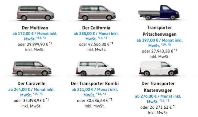 VW Bus Neuwagen Startpreise 08 2017
