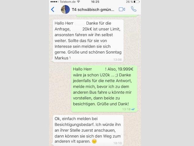 Konversation Preisabsprache VW Bus whats app