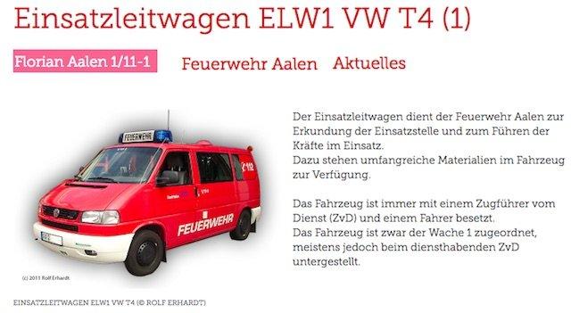 Feuerwehr VW Bus kaufen Einsatzleitwagen ELW1 Bildrechte bei Herr Rolf Erhardt