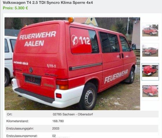 Inserat VW Bus Feuerwehr Versteigerung Behoerde