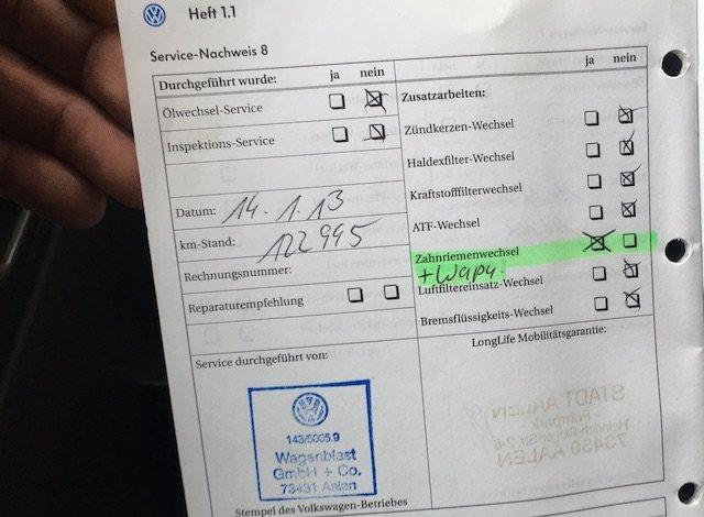 Servicenachweis VW Bus Feuerwehr regelmaessig gewartet