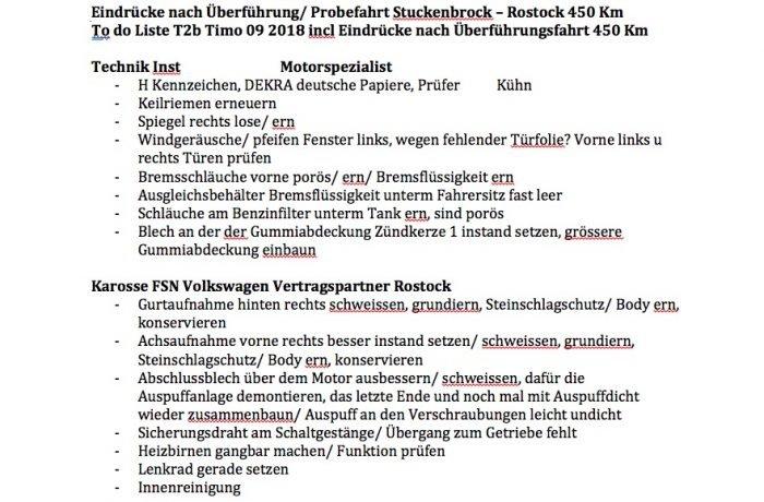 VW Bus instand setzen to do Liste 1 von 2