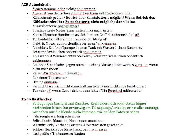 VW Bus instand setzen to do Liste 2 von 2
