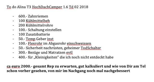 VW Bus T3 Camper kaufen Reparaturen zu erwarten