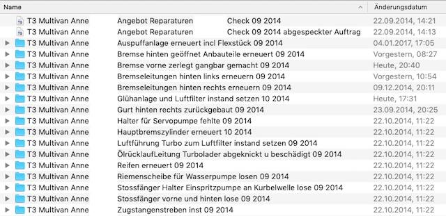 Reparaturhistorie VW Bus T3 Fachwerkstatt