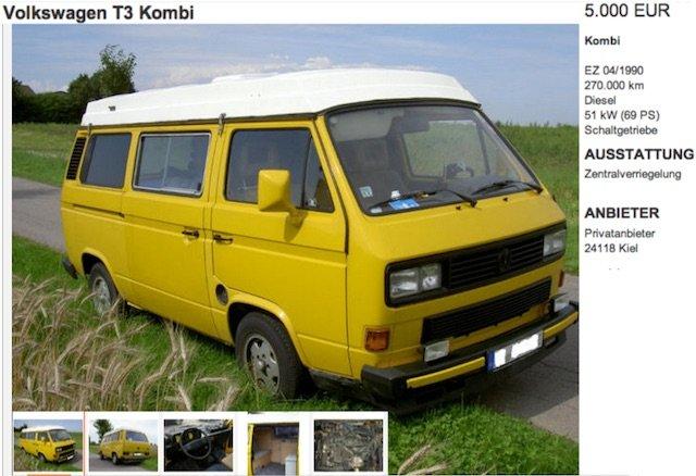 VW Bus T3 KlappDachCamper kaufen Angebot 2013