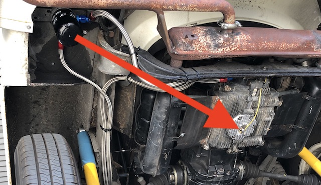 öltemperaturgeber VW Bus T2 im Ölsumpf