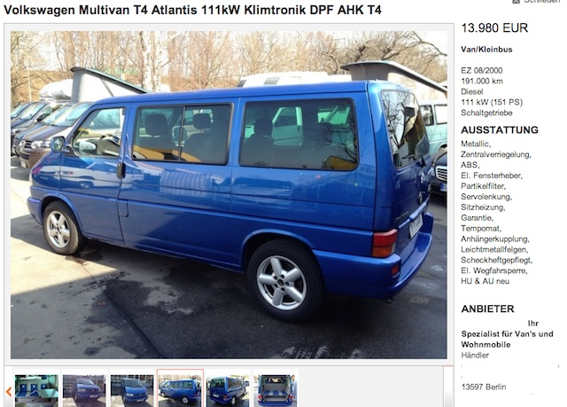 VW Bus T4 Multivan Atlantis 111 KW Inserat Berlin