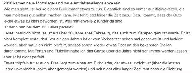 Reparaturstau schon im Inserat ablesen VW Bus T3 Beratung