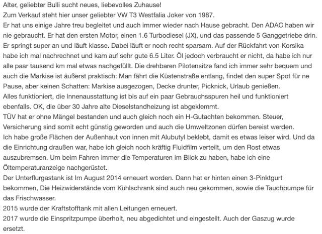 VW Bus Inseratebeschreibung mit wertvollen Hinweisen