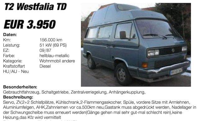 VW Bus Preis T3 Westfalia HochDachCamper BusChecker Preisschild Juli 2006