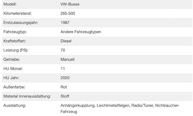 VW Bus T3 KlappDachCamper Inserat technische Details