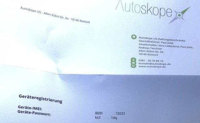 Portal Autoskope Gerätedaten online anmelden