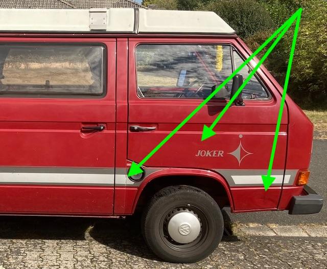 VW Bus T3 Lack original kein Rost nur Beulen Seite rechts