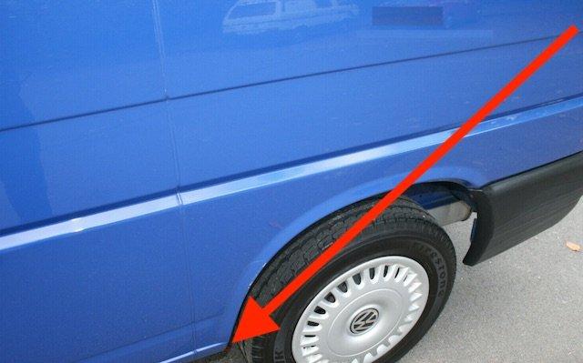 Schwachstelle Radlauf VW Bus T4 hinten unten vorne
