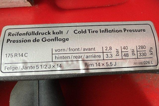 Aufkleber Reifenfülldruck VW Bus T3 K800