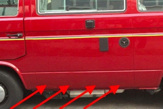 Küchenfuge VW Bus T3 zugespachtelt