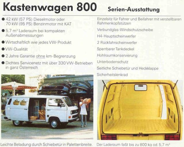 Sonderdruck VW T3 K800 Prospekt Österreich Fotocredit vwpix.org © VW AG