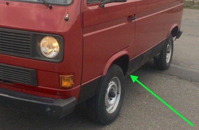 Unterbodenschutz schwarz Vorsicht VW Bus T3