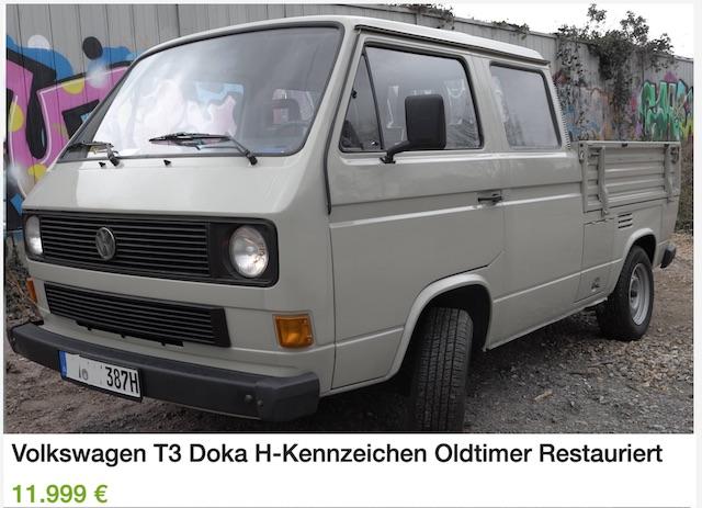 VW Bus T3 DoKa Doppelkabine Pritsche restauriert